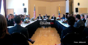 U.S.DOT Sec. Anthony Foxx, center, speaks to Columbus leaders about 'Smart Cities Challenge.""