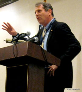 Ohio Sen. Sherrod Brown talks to Ohio delegation Wednesday morning in Philadelphia.