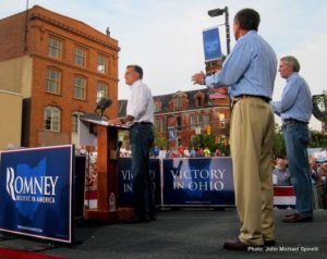 Sen. Rob Portman and Gov. John Kasich campaign on stage in 2012 in Chillicothe with Republican presidential nominee, Mitt Romney. Chillicothe.