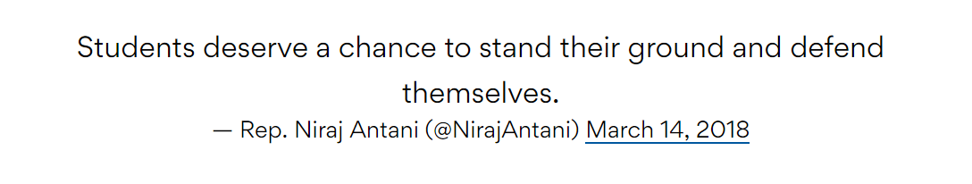 Students deserve a chance to stand their ground and defend themselves. — Rep. Niraj Antani (@NirajAntani) March 14, 2018